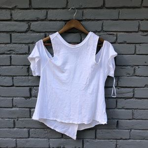 We the Free White Cold Shoulder Asymmetrical Top S